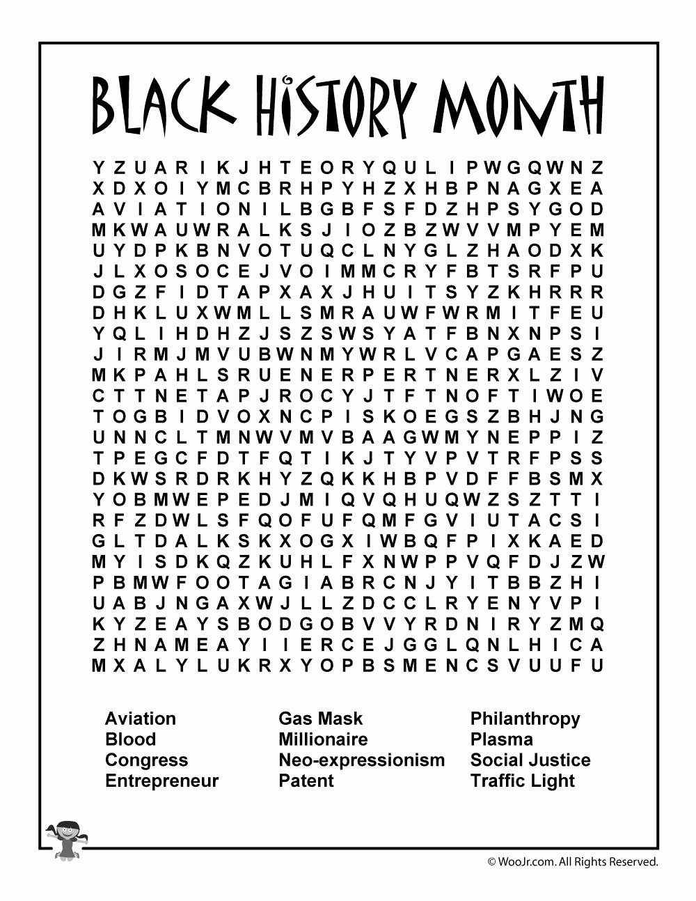 Black History Worksheets for Preschoolers Ideas Black History Month Word Search Woo Jr Kids Activities