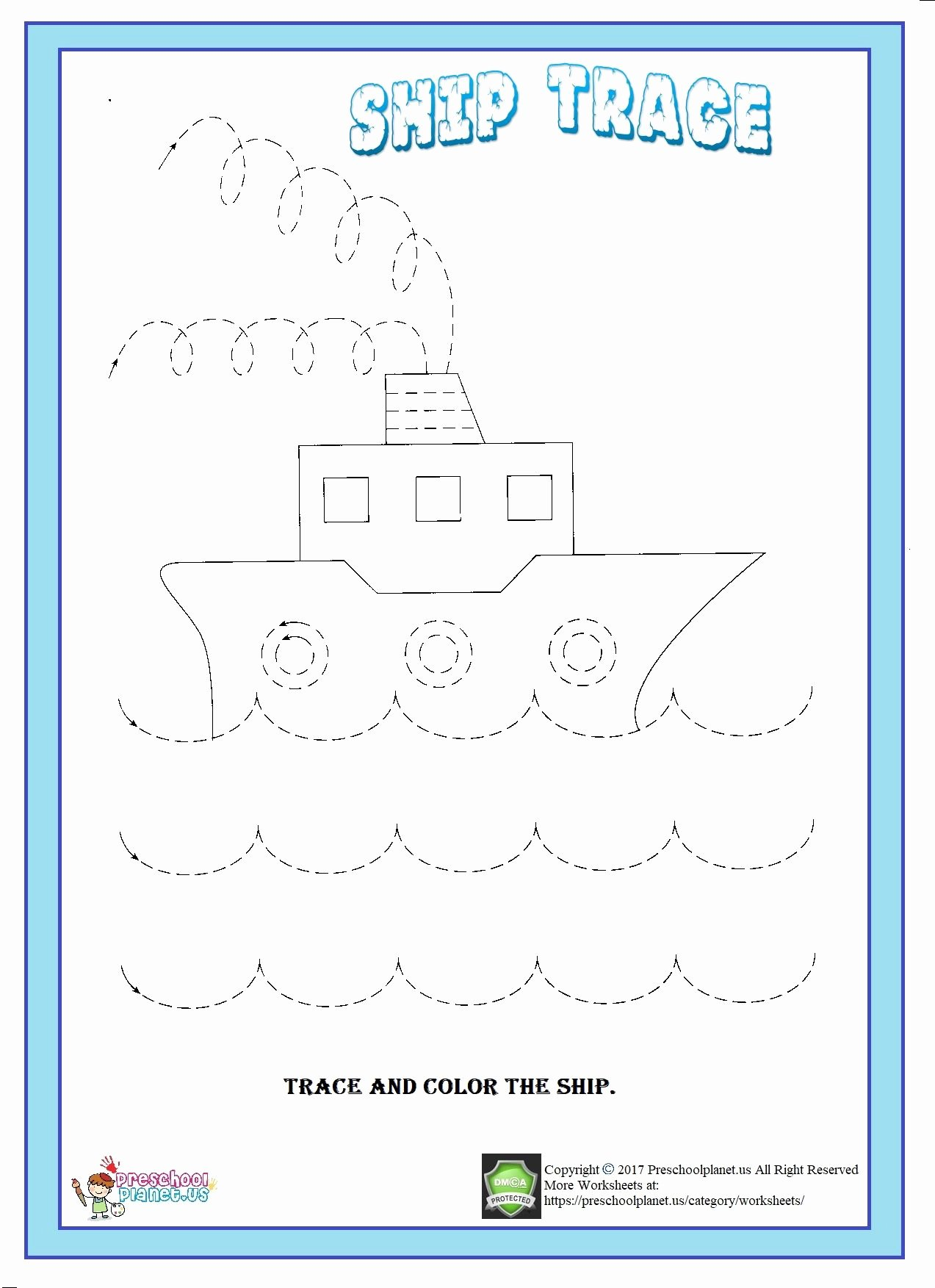 Boat Worksheets for Preschoolers Fresh Ship Trace Worksheet