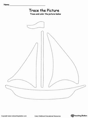 Boat Worksheets for Preschoolers Printable Boat Picture Tracing