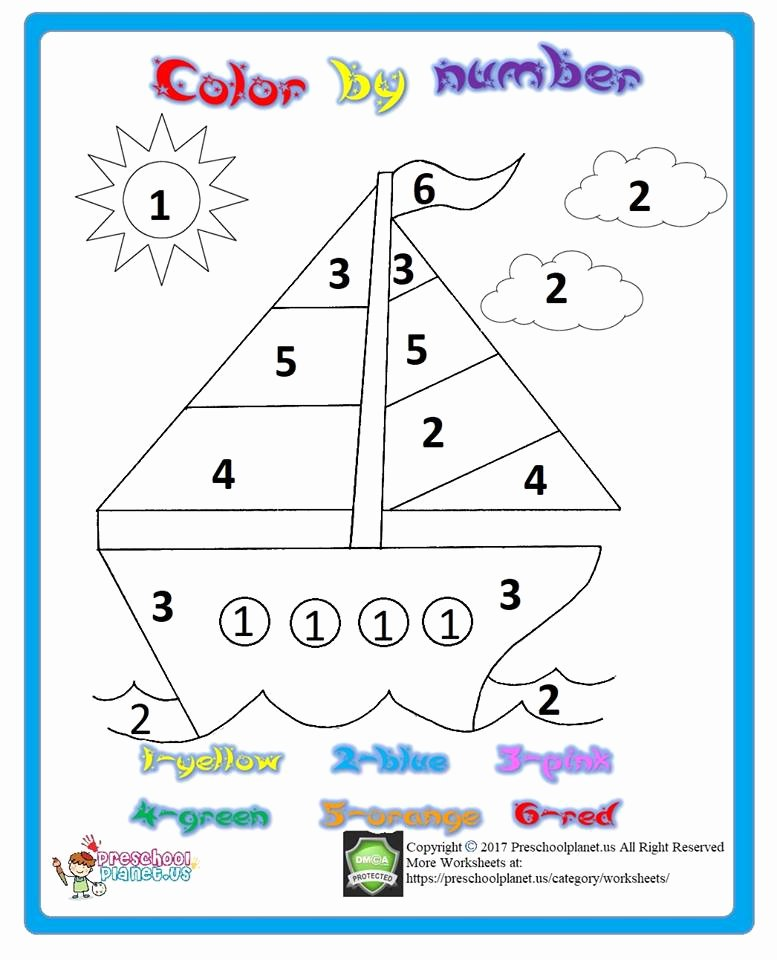 Boat Worksheets for Preschoolers Printable Color by Number Printable – Preschoolplanet
