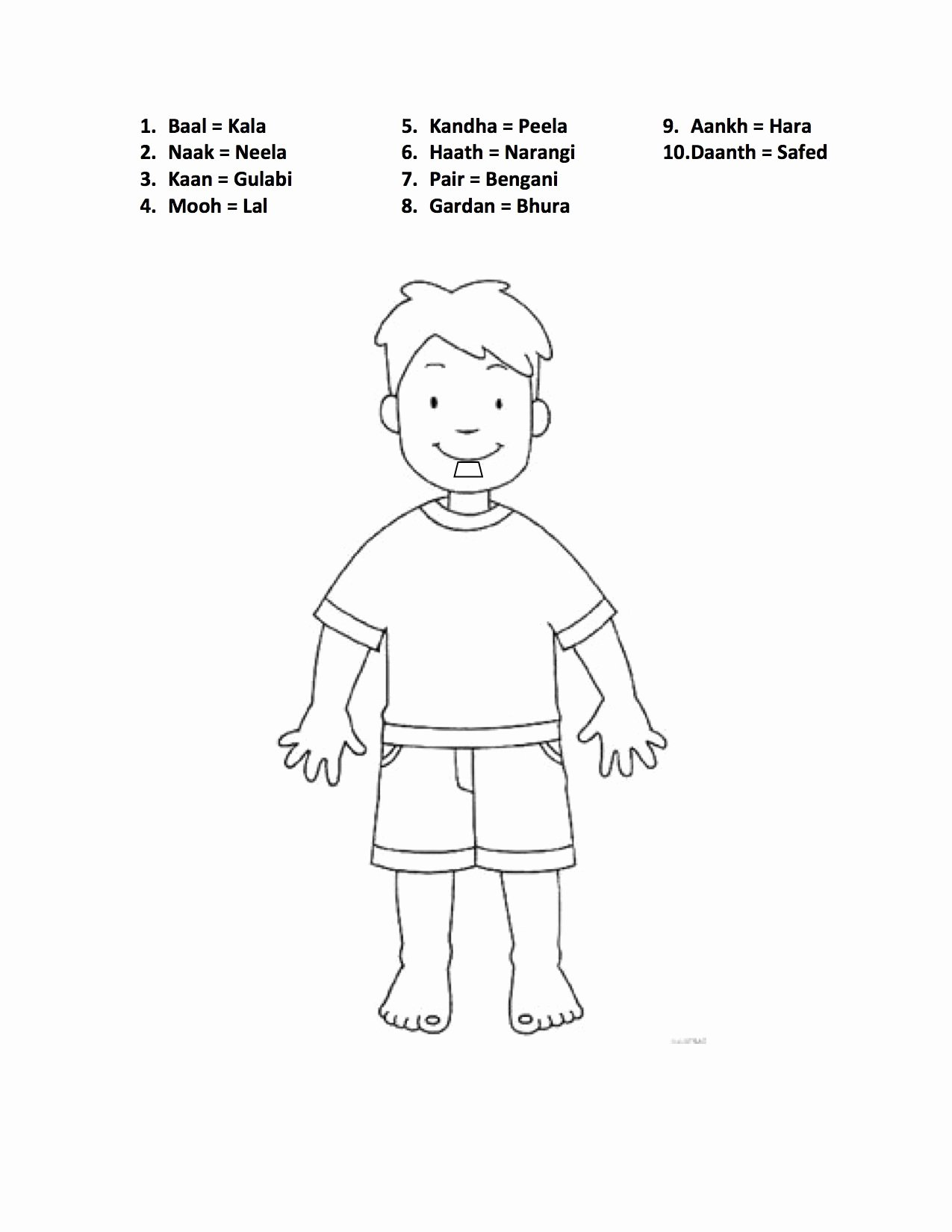 Body Parts Printable Worksheets for Preschoolers New Pin Hindi Worksheets Printable Body Parts for