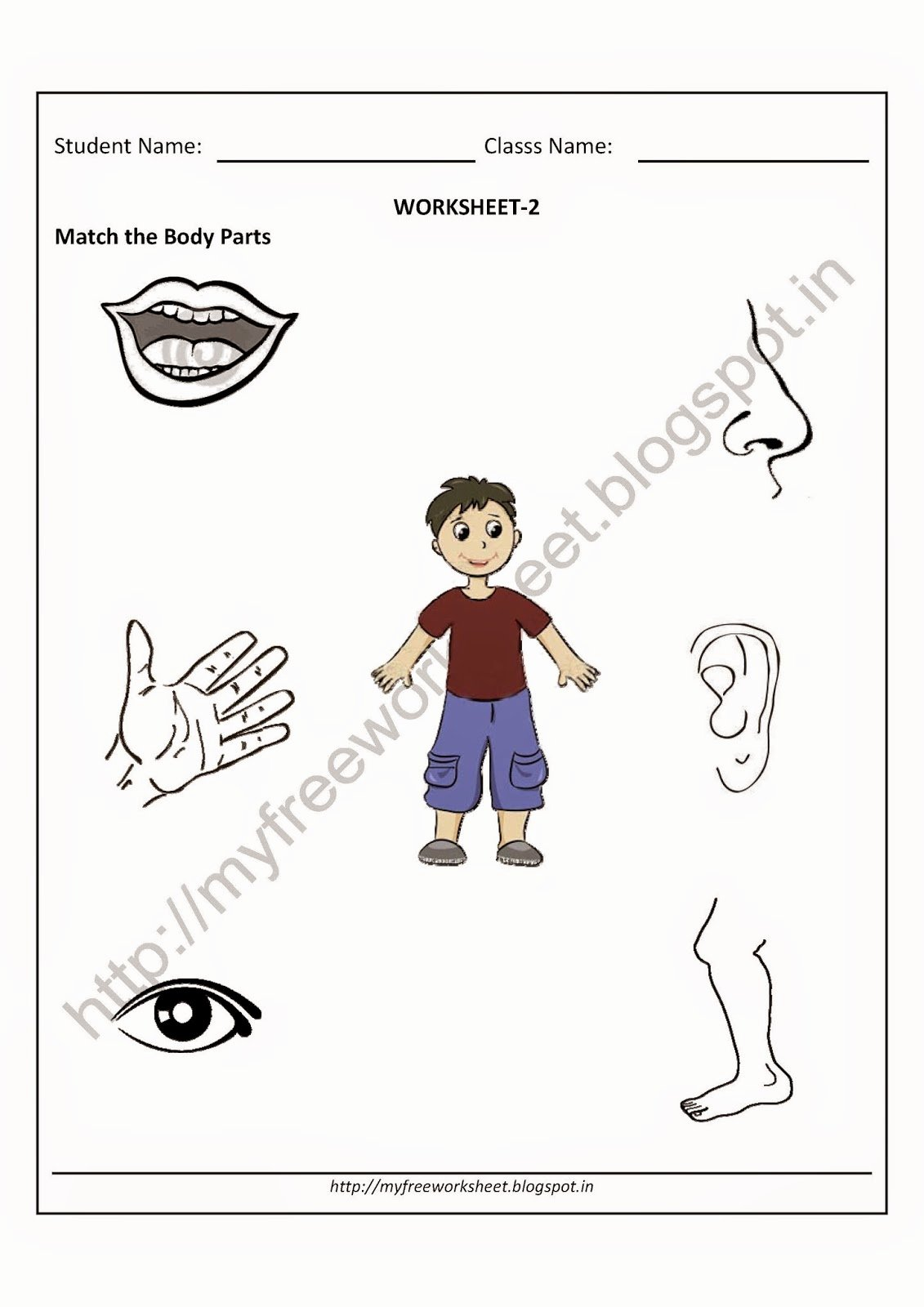Body Parts Worksheets for Preschoolers Lovely Pdf Free for Nursery Kids Match the Body Parts Worksheet Evs