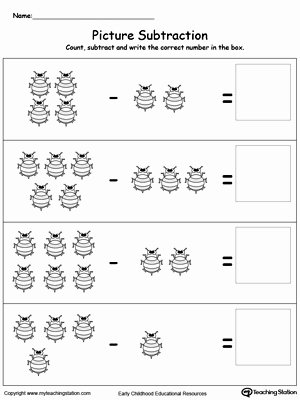 Bug Math Worksheets for Preschoolers Printable Worksheet Subtract Using Bugs Kindergarten