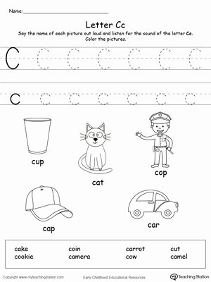 C Worksheets for Preschoolers Ideas Words Starting with Letter C