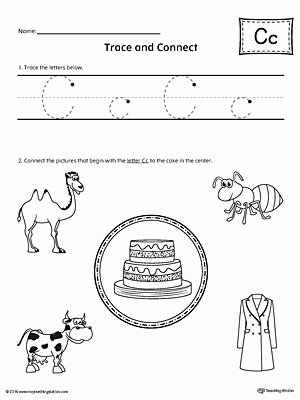 C Worksheets for Preschoolers New Trace Letter C and Connect Worksheet