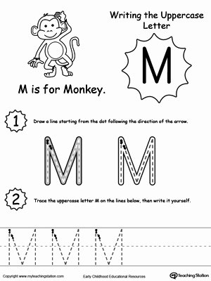 Capital Letters Worksheets for Preschoolers Best Of Writing Uppercase Letter M