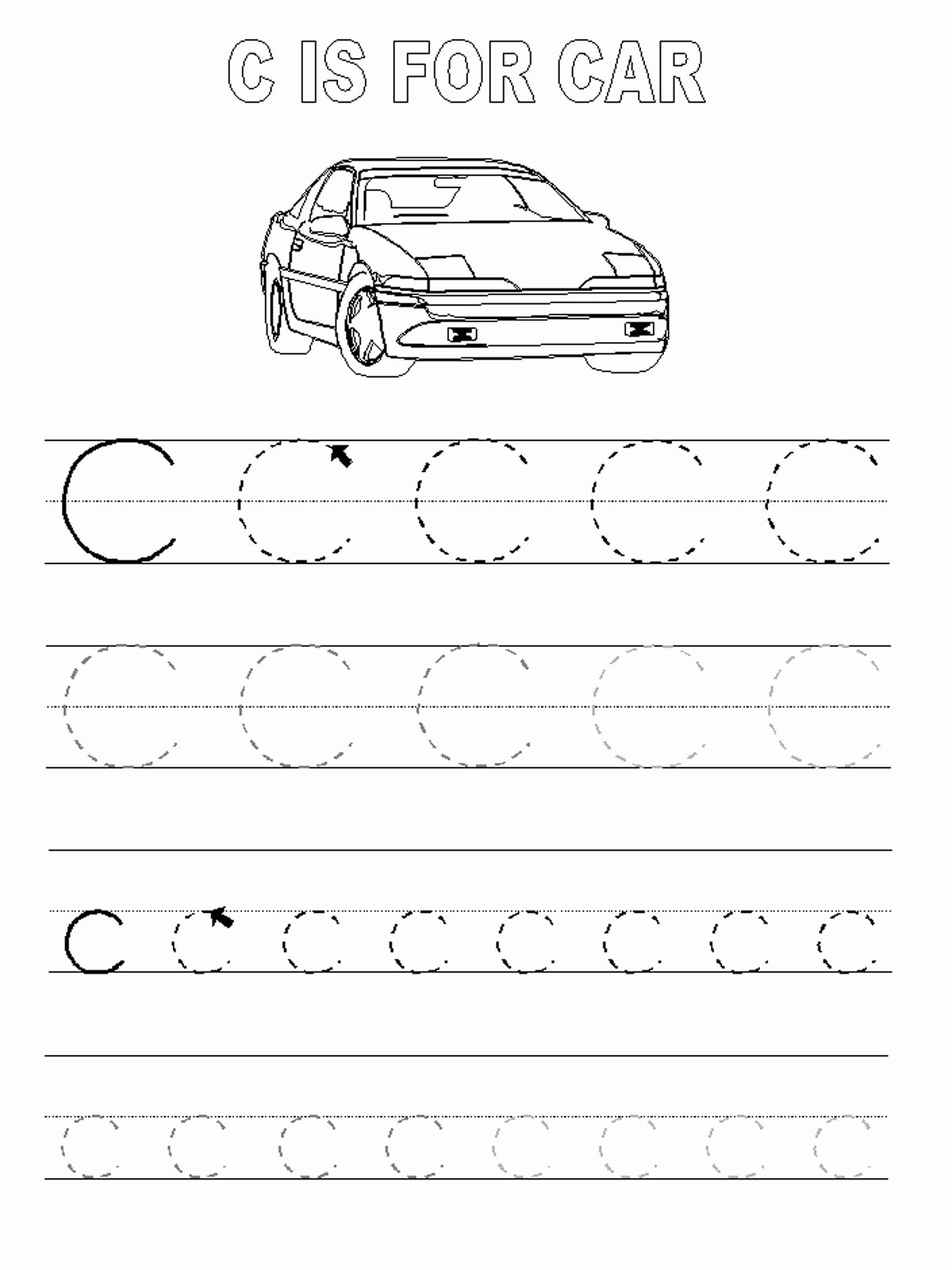 Car Worksheets for Preschoolers Best Of Trace Letter Worksheets Activity Shelter Tracing Car
