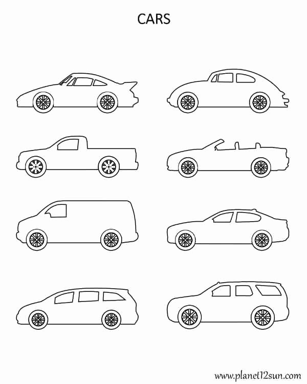 Car Worksheets for Preschoolers Ideas Shapes Cars Coloring Page Planet12sun Printables