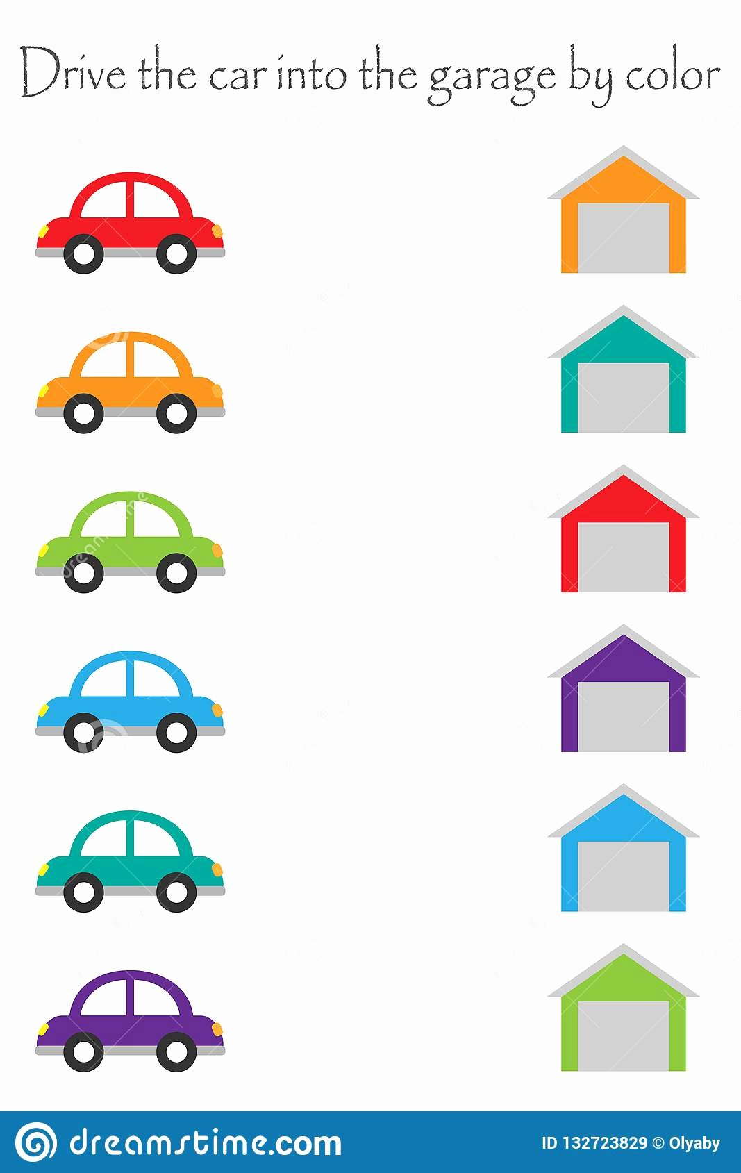 Car Worksheets for Preschoolers Kids Drive Colorful Cars In Cartoon Style Into Garages by Color