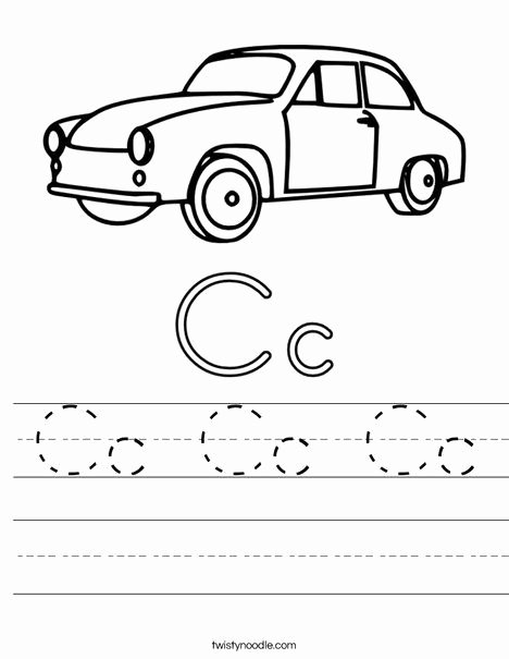 Car Worksheets for Preschoolers New Cc Cc Cc Worksheet From Twistynoodle
