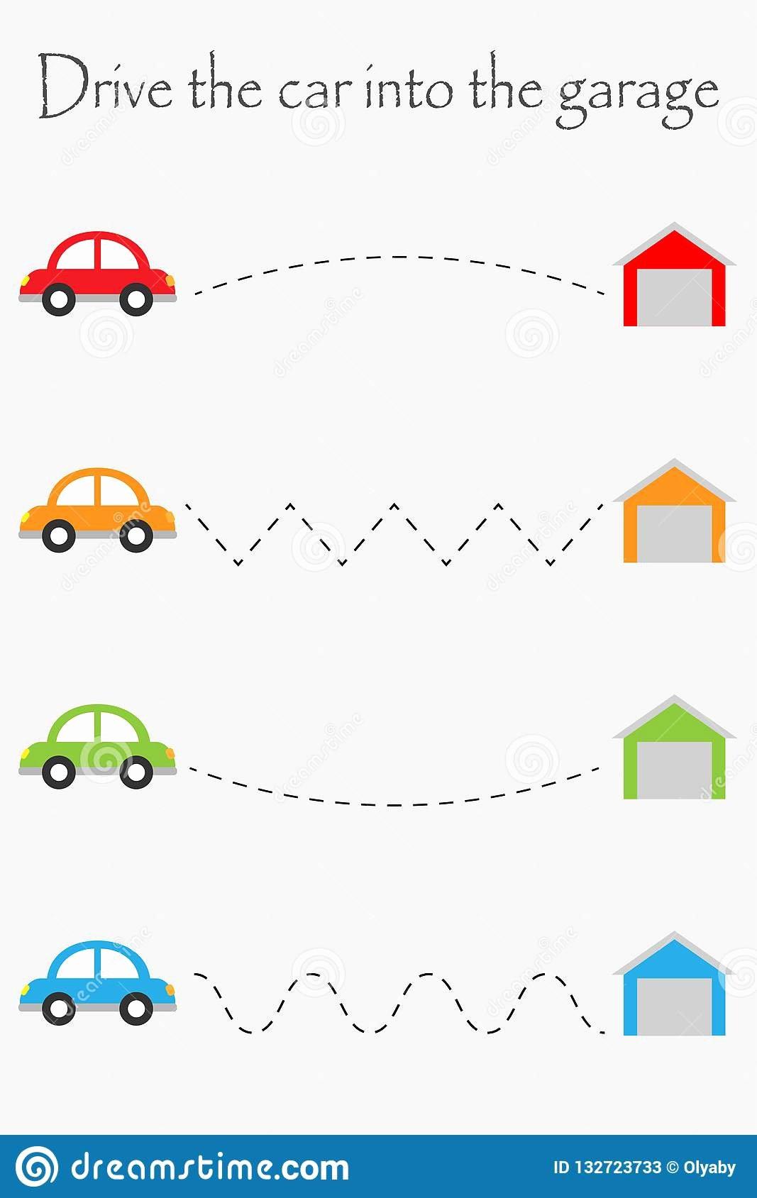Car Worksheets for Preschoolers Printable Drive Cars to Garages Handwriting Practice Sheet Kids