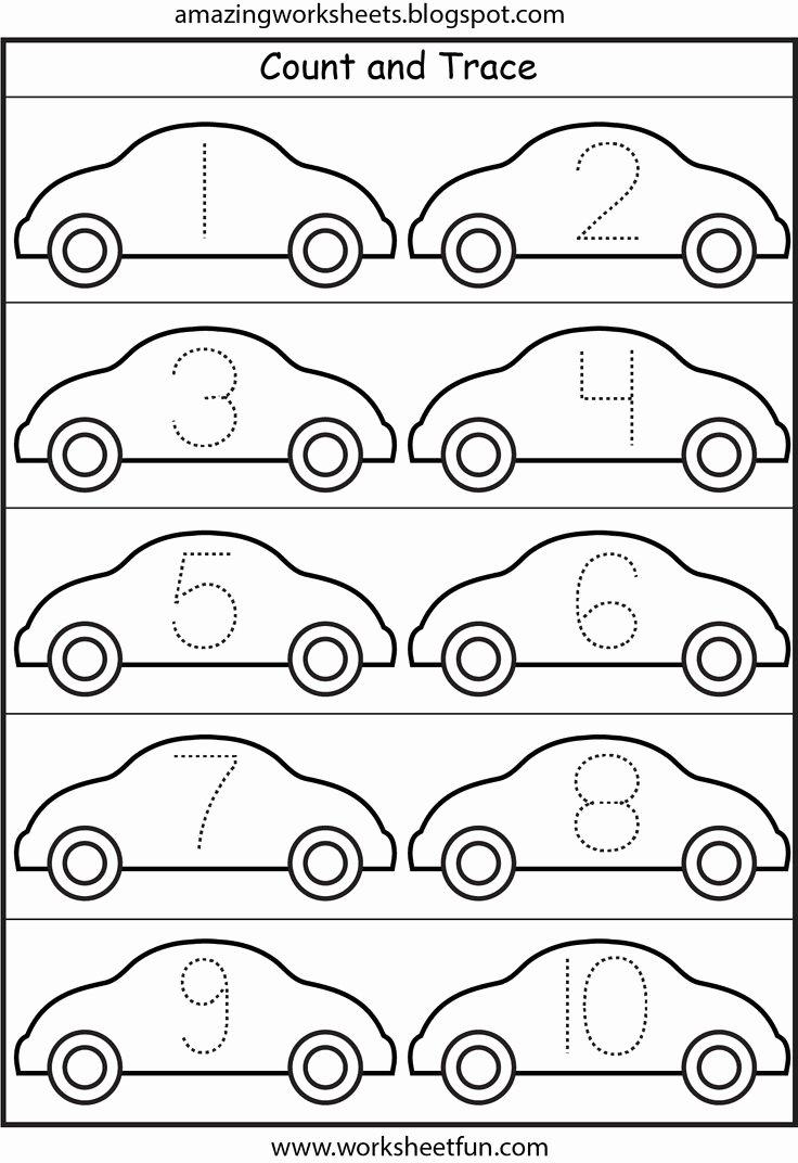 Car Worksheets for Preschoolers Printable Number Tracing Cars