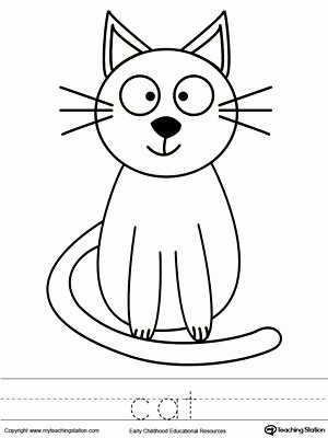 Cat Worksheets for Preschoolers Inspirational Cat Coloring Page and Word Tracing