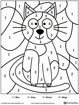 Cat Worksheets for Preschoolers New Color by Number Cat