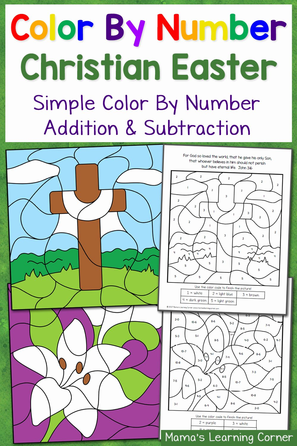 Christian Easter Worksheets for Preschoolers New Christian Easter Color by Number Worksheets Mamas Learning