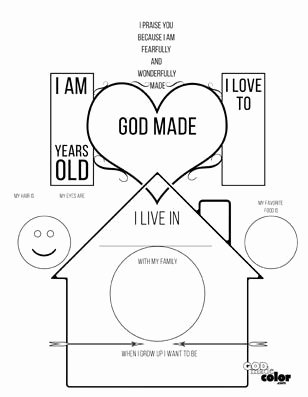 Christian Worksheets for Preschoolers Kids All About Me God Made Me Printable This Worksheet Lets the