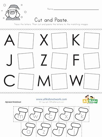 Christmas Alphabet Worksheets for Preschoolers Fresh Christmas Cut and Paste Letter Matching Worksheet