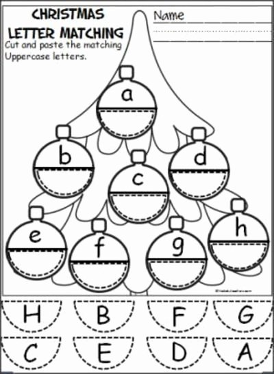 Christmas Alphabet Worksheets for Preschoolers Inspirational Free Christmas ornament Alphabet Activity Students Cut and