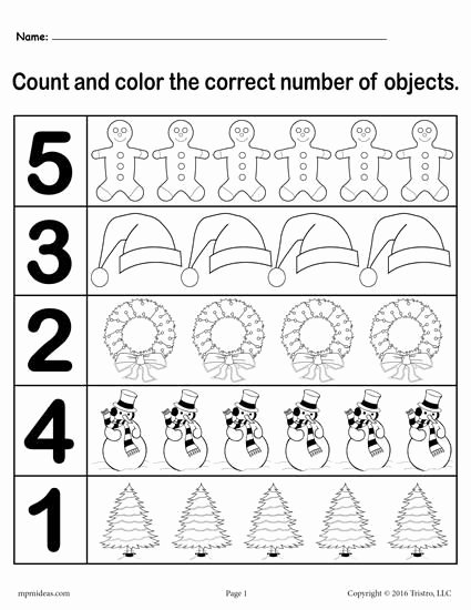 Christmas Number Worksheets for Preschoolers Fresh Christmas themed Count and Color Worksheets Printable Free