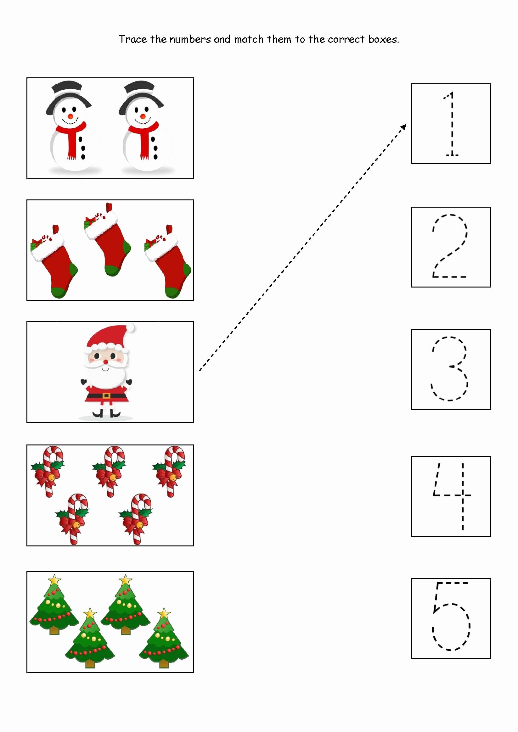 Christmas Number Worksheets for Preschoolers Fresh Cute Little Christmas Counting Matching and Tracing
