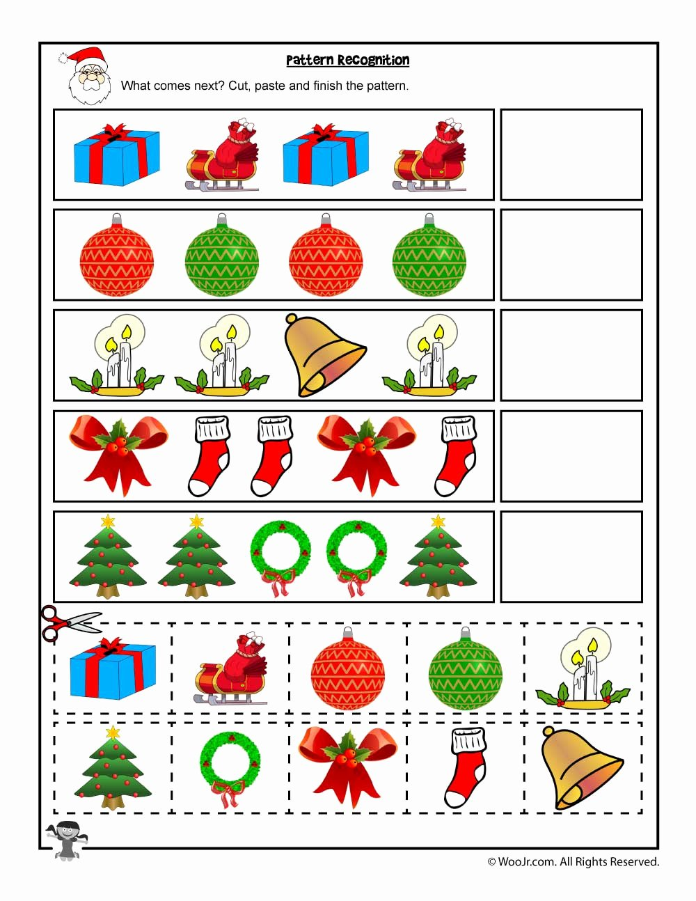 Christmas Pattern Worksheets for Preschoolers Free Cut and Paste Christmas Pattern Recognition Worksheet