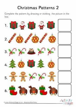 Christmas Pattern Worksheets for Preschoolers Free Pattern Worksheets