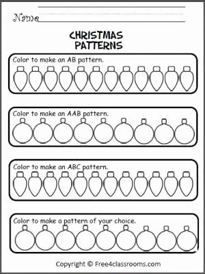 Christmas Pattern Worksheets for Preschoolers Fresh Christmas Patterns Worksheet