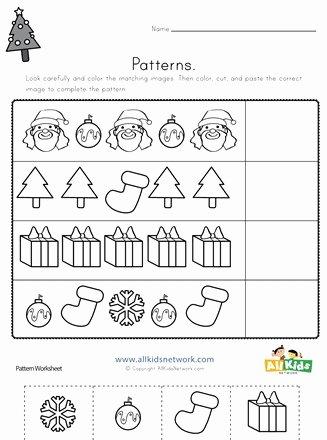 Christmas Pattern Worksheets for Preschoolers Kids Christmas Cut and Paste Patterns Worksheet