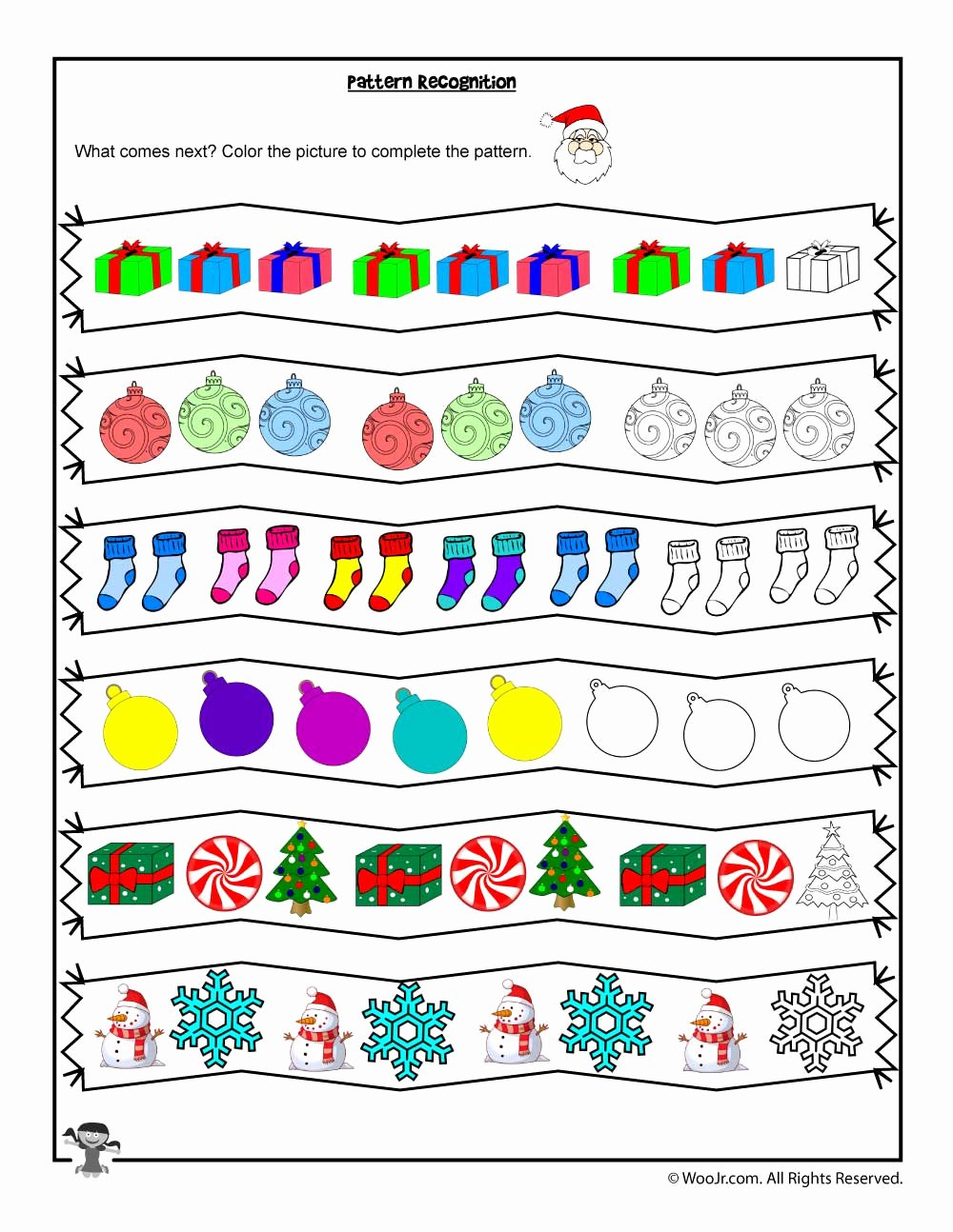 Christmas Pattern Worksheets for Preschoolers Printable Pattern Recognition Christmas Coloring Worksheet
