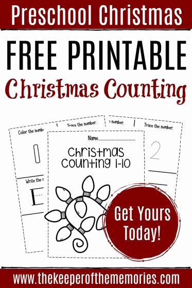 Christmas Worksheets for Preschoolers Printables New Free Printable Numbers Christmas Preschool Worksheets