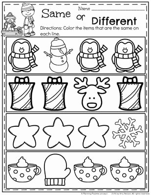 Christmas Worksheets for Preschoolers Printables Printable December Preschool Worksheets Planning Playtime