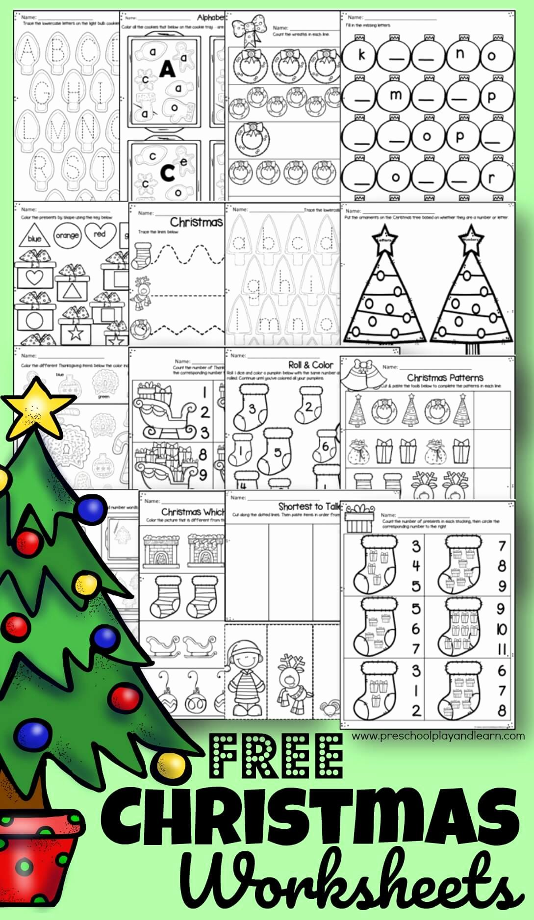 Christmas Worksheets for Preschoolers Printables top Free Christmas Worksheets for Preschoolers