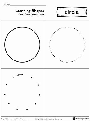 Circle Shape Worksheets for Preschoolers Fresh Learning Shapes Color Trace Connect and Draw A Circle