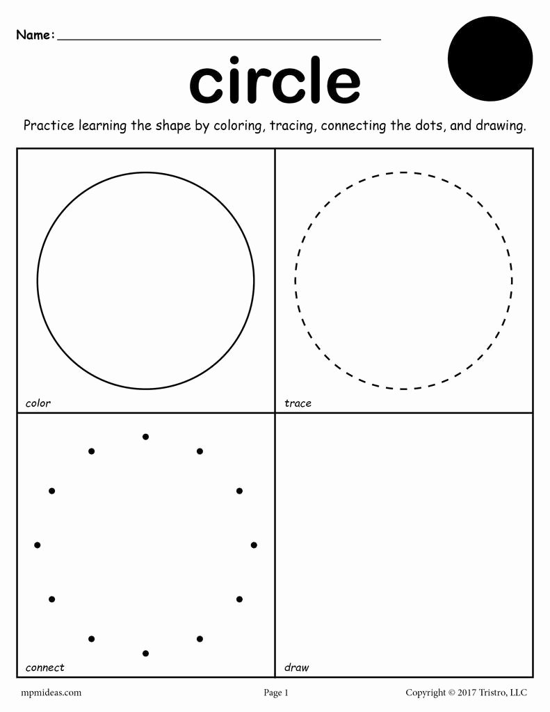 Circle Shape Worksheets for Preschoolers Printable Circle Shape Worksheet Color Trace Connect & Draw
