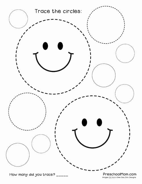 Circle Shape Worksheets for Preschoolers Printable Shape Tracing Worksheets Preschool Mom