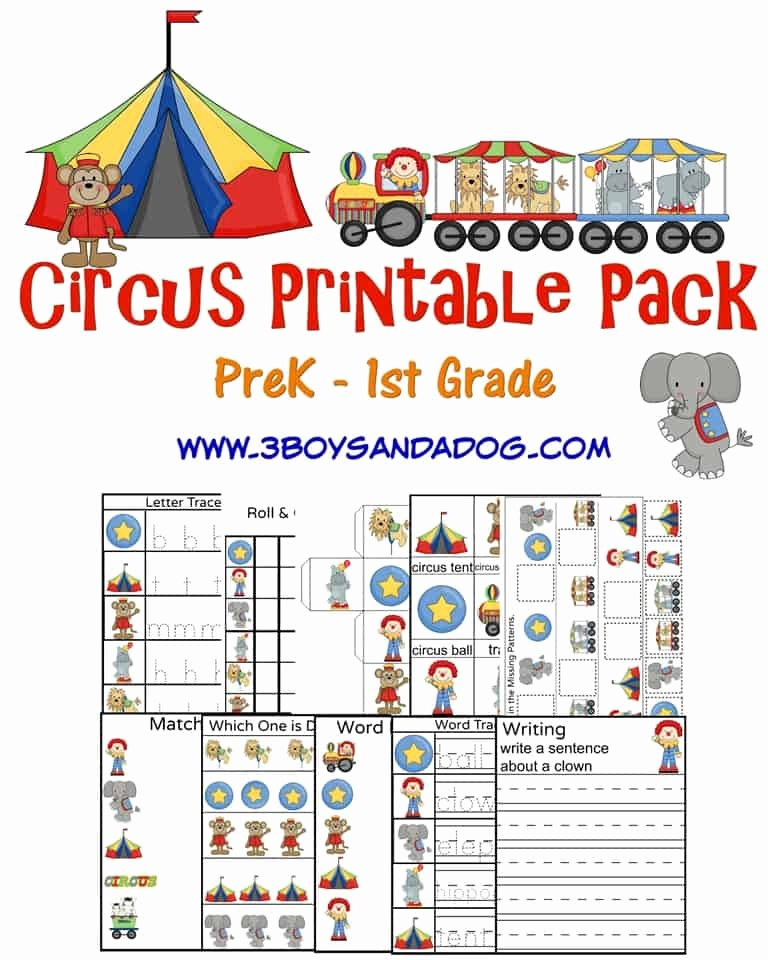 Circus Worksheets for Preschoolers New Circus Printable Worksheets – 3 Boys and A Dog – 3 Boys and