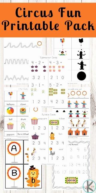 Circus Worksheets for Preschoolers Printable Free Circus Worksheets