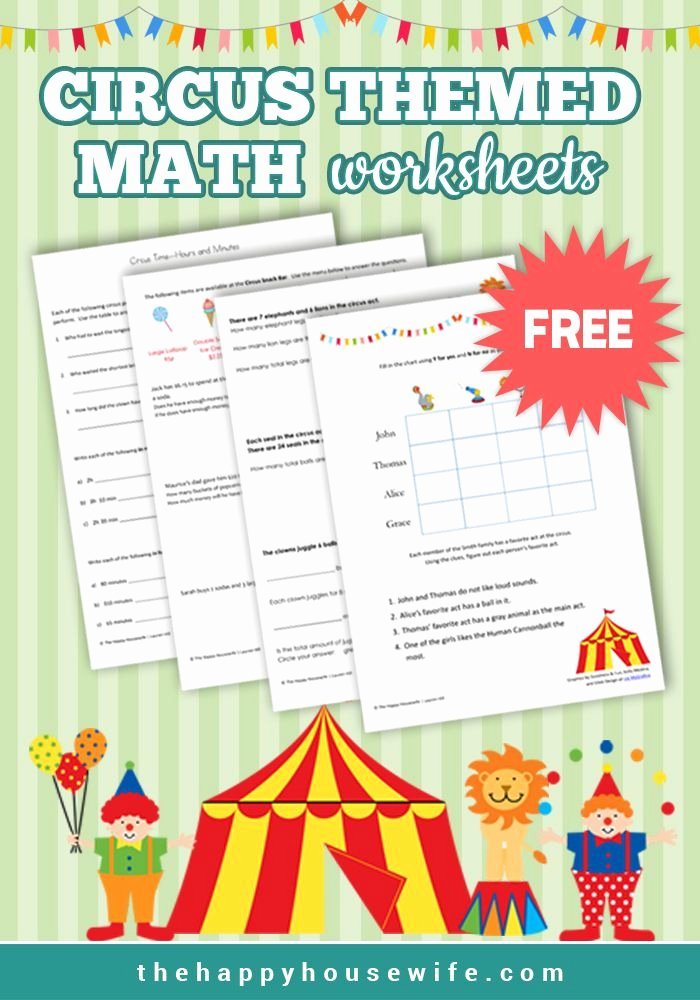 Circus Worksheets for Preschoolers top Circus themed Math Worksheets Free Printables In Fun