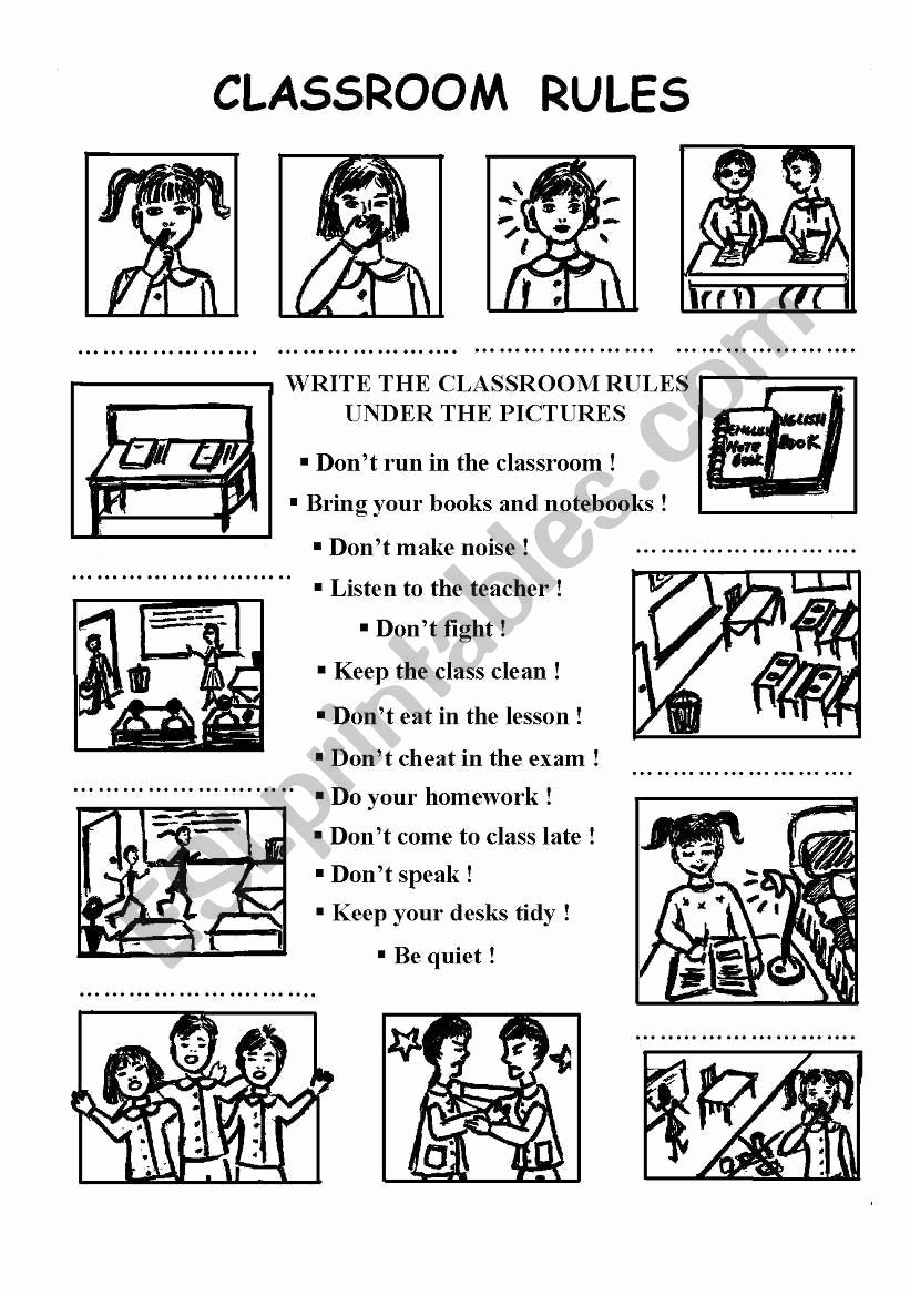 Classroom Rules Worksheets for Preschoolers Best Of Classroom Rules Esl Worksheet by Chance Worksheets Free
