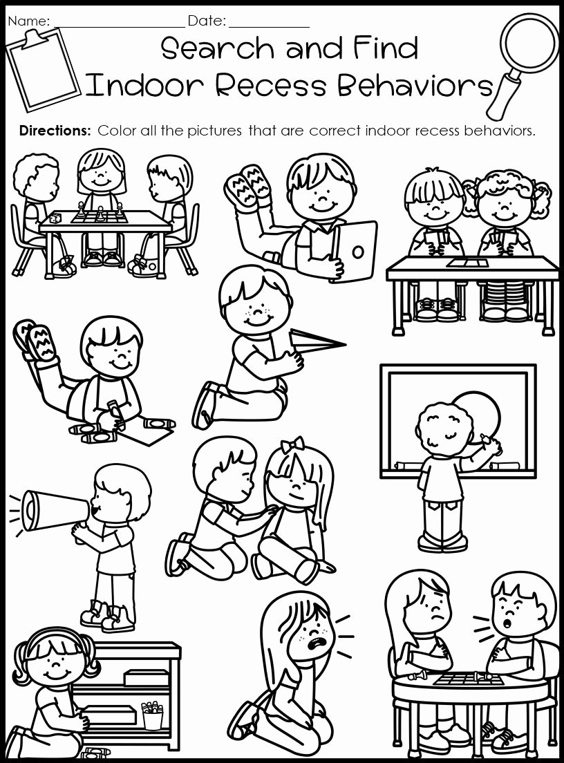 Classroom Rules Worksheets for Preschoolers Free Behavior Search and Find Activities Back to School