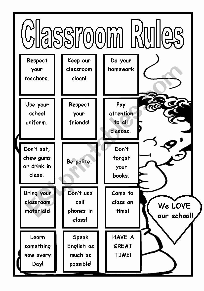 Classroom Rules Worksheets for Preschoolers Free Poster Classroom Rules Esl Worksheet by Giovannademartin