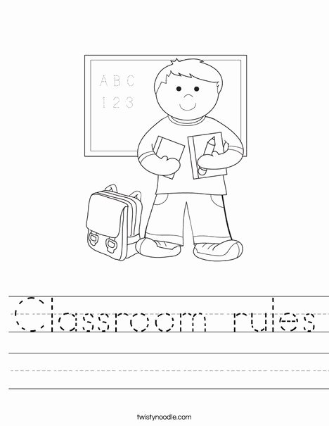 Classroom Rules Worksheets for Preschoolers Ideas Classroom Rules Worksheet Twisty Noodle