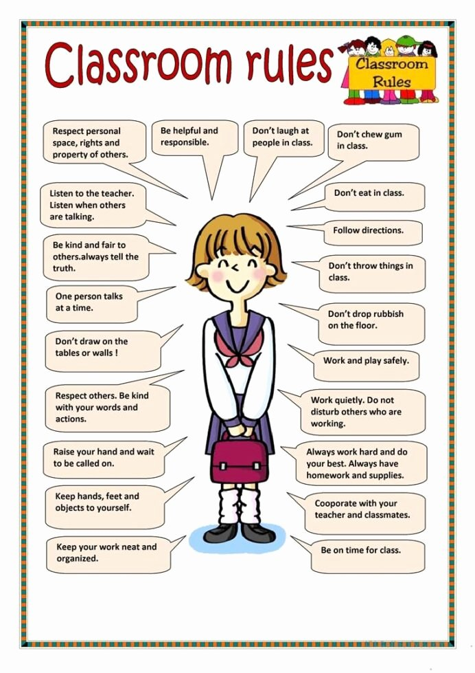 Classroom Rules Worksheets for Preschoolers Lovely Classroom Rules English Worksheets Free Games to Play with