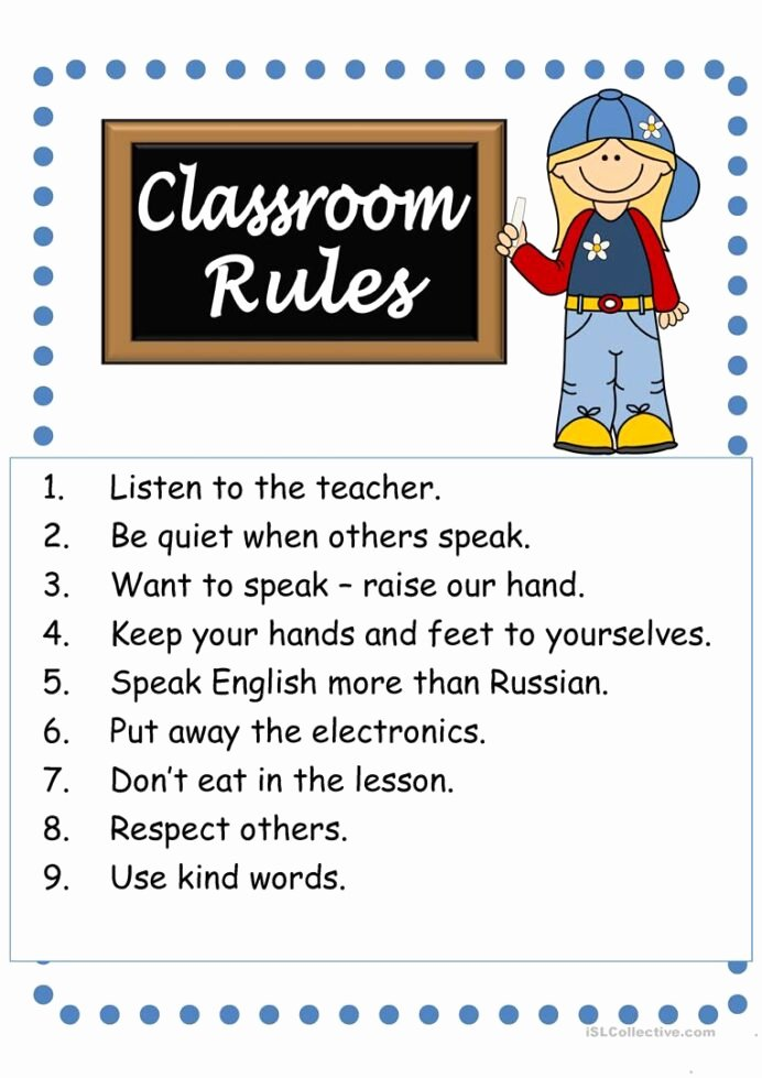 Classroom Rules Worksheets for Preschoolers Printable Classroom Rules English Esl Worksheets for Distance Learning