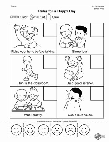 Classroom Rules Worksheets for Preschoolers Printable Rules for A Happy Day Lesson Plans the Mailbox