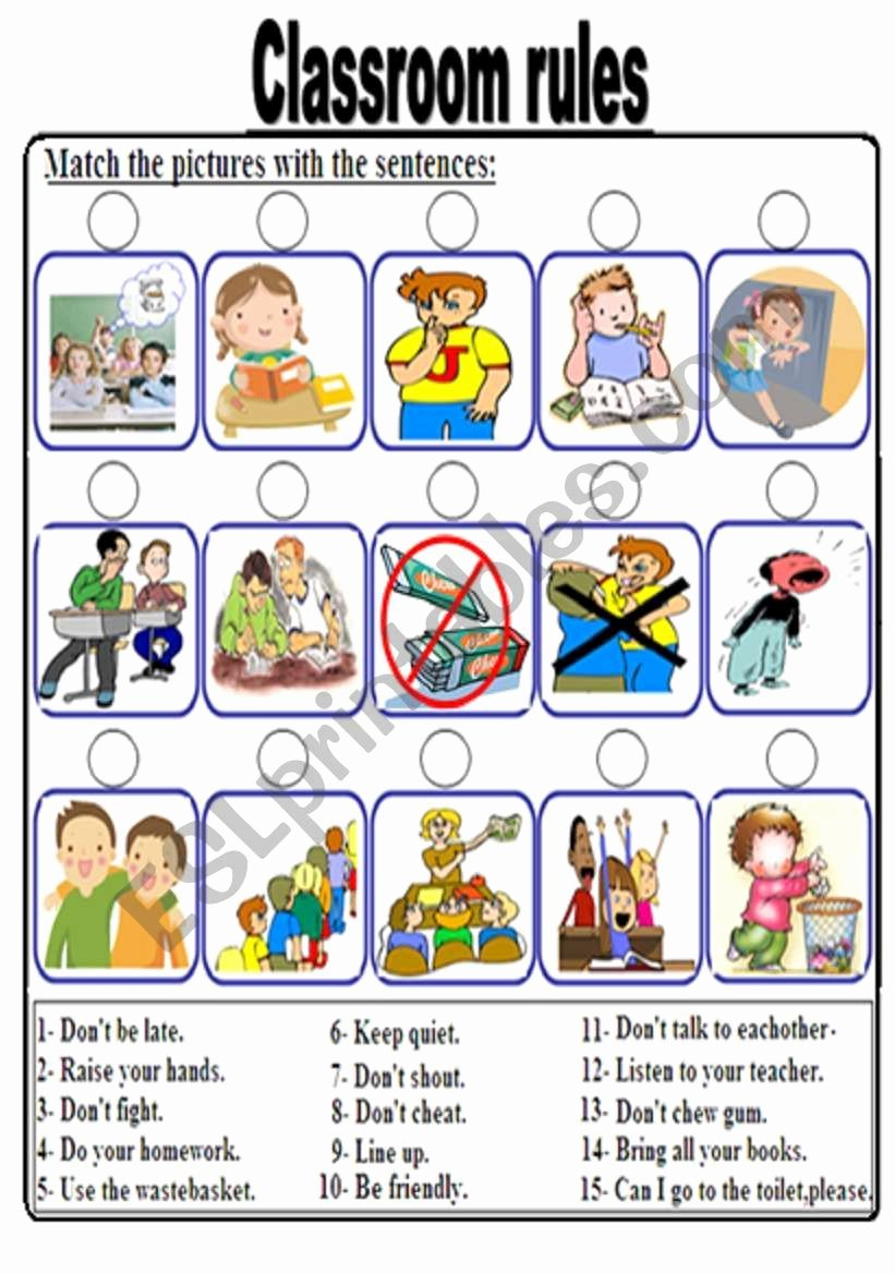 Classroom Rules Worksheets for Preschoolers top Classroom Rules Worksheet