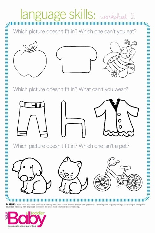 Cognitive Development Worksheets for Preschoolers Free Print It School Readiness Work Sheets