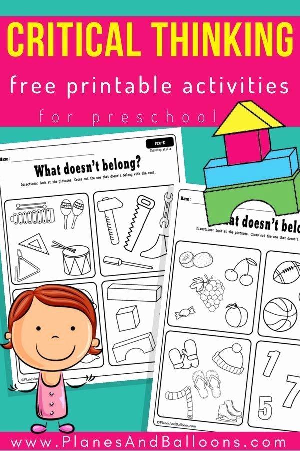 Cognitive Skills Worksheets for Preschoolers Free Critical Thinking Preschool Worksheets Free Printable