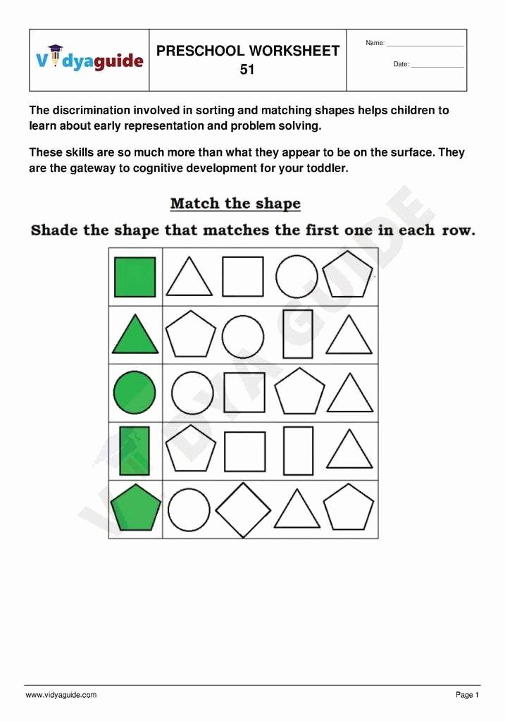 Cognitive Skills Worksheets for Preschoolers Printable Free Printable Preschool Worksheet 51