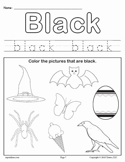Color Black Worksheets for Preschoolers Fresh Color Black Worksheet